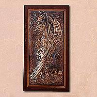 Copper relief panel, 'Voice of Heaven' - Angel-Themed Copper Relief Panel Crafted in Peru