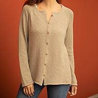 Pima cotton cardigan, 'Warm Grace in Taupe' - Crocheted Pima Cotton Cardigan in Taupe from Peru
