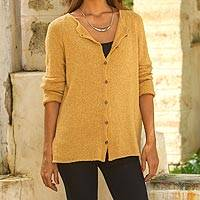 Pima cotton cardigan, 'Warm Grace in Amber' - Crocheted Pima Cotton Cardigan in Amber from Peru