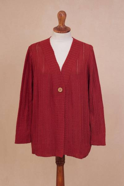 Pima cotton cardigan, Morning Warmth in Crimson