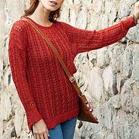 Pima cotton pullover, 'Sweet Warmth in Crimson' - Crocheted Pima Cotton Pullover in Crimson from Peru