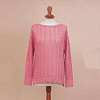 Pima cotton pullover, 'Sweet Warmth in Rose' - Crocheted Pima Cotton Pullover in Rose from Peru