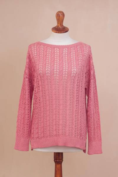 Pima cotton pullover, Sweet Warmth in Rose