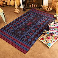 Reversible llama wool area rug, 'Dusk Arrows' (4x7) - Handwoven Dusk Llama Wool Area Rug (4x7) from Peru