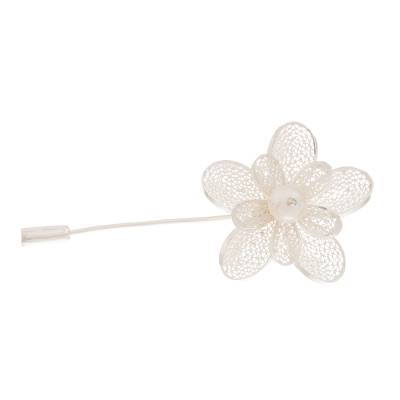 Floral Cultured Pearl Filigree Stickpin from Peru