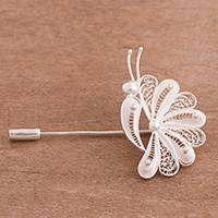 Sterling silver filigree brooch, 'Glistening Nature' - Sterling Silver Filigree Brooch Crafted in Peru