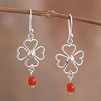 Carnelian dangle earrings, 'Open Luck' - Carnelian Sterling Silver Four-Leaf Clover Dangle Earrings