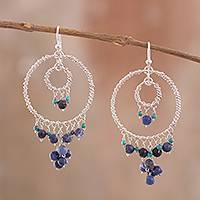 Sodalite chandelier earrings, 'Waterfall Dreams' - Silver Chandelier Earrings with Sodalite and Turquoise