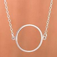 Silver pendant necklace, 'Circle Enigma' - Handcrafted Silver Necklace with Circle Pendant