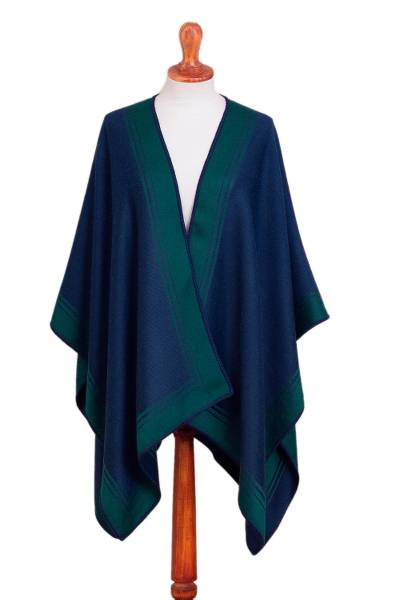 Reversible Alpaca Blend Ruana in Navy and Kelly Green