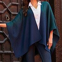 Alpaca blend ruana, 'Andean Wind in Navy' - Reversible Alpaca Blend Ruana in Navy and Kelly Green