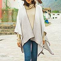 Alpaca blend ruana, 'Andean Wind in Taupe' - Reversible Alpaca Blend Ruana in Taupe and Snow White