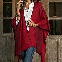 Alpaca blend ruana, 'Andean Wind in Wine' - Reversible Alpaca Blend Ruana in Tomato and Wine