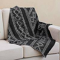 Alpaca blend throw, 'Andean Cross in Smoke' - Alpaca Blend Throw with Andean Crosses in Smoke and Black