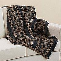 Alpaca blend throw, 'Andean Cross in Tan' - Alpaca Blend Throw with Andean Crosses in Tan and Black