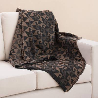 Alpaca blend throw, 'Andean Labyrinth in Tan' - Alpaca Blend Throw with Geometric Motifs in Tan and Black