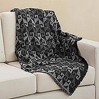 Alpaca blend throw, 'Andean Labyrinth in Smoke' - Alpaca Blend Throw with Geometric Motifs in Smoke and Black