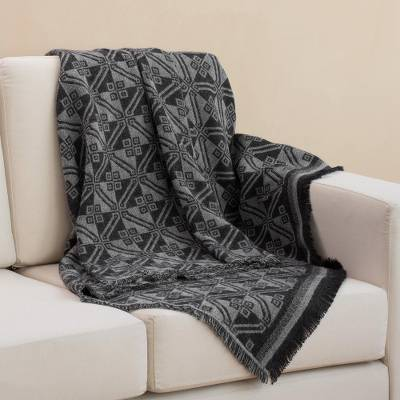 Reversible alpaca blend throw, 'Andean Squares in Smoke' - Alpaca Blend Throw with Square Motifs in Smoke and Black