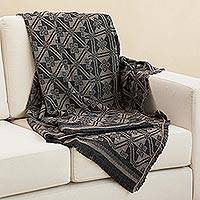 Alpaca blend throw, 'Andean Squares in Taupe' - Alpaca Blend Throw with Square Motifs in Taupe and Black