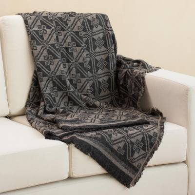 Reversible alpaca blend throw, 'Andean Squares in Taupe' - Alpaca Blend Throw with Square Motifs in Taupe and Black