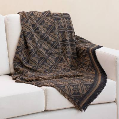 Reversible alpaca blend throw, 'Andean Squares in Tan' - Alpaca Blend Throw with Square Motifs in Tan and Black