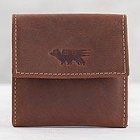 Men's leather coin wallet, 'Esquire in Dark Brown' - Men's Two Compartment Dark Brown Leather Coin Wallet