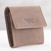 Men's leather coin wallet, 'Esquire in Light Brown' - Men's Two Compartment Light Brown Leather Coin Wallet