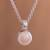 Cultured pearl pendant necklace, 'Peach Bloom' - Peach Cultured Pearl and Sterling Silver Pendant Necklace thumbail
