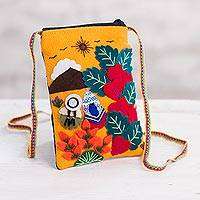 Appliqué mini shoulder bag, 'Love in the Mountains' - Andean Mountain Couple Cotton Blend Appliqué Shoulder Bag
