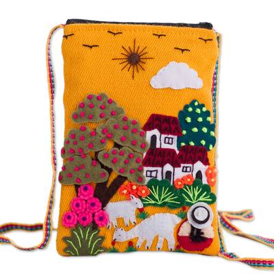 Andean Shepherdess Scene Cotton Blend Appliqu?�?� Shoulder Bag