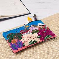 Appliqué pencil case, 'Flourishing Gardens' - Colorful Andean Gardens Cotton Blend Appliqué Pencil Case
