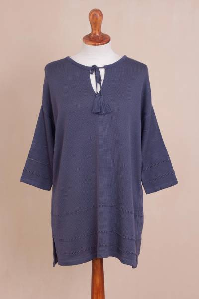 Pima cotton and viscose blend tunic sweater, 'Flirty Blue-Violet' - Pima Cotton and Viscose Blend Sweater in Blue-Violet