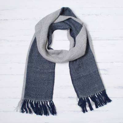 Reversible 100% baby alpaca scarf, 'Smoky Navy' - 100% Baby Alpaca Scarf in Navy and Smoke from Peru