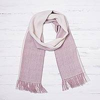 100% baby alpaca scarf, 'Dusty Alabaster' - 100% Baby Alpaca Scarf in Dusty Rose and Alabaster from Peru