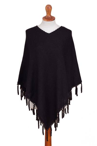 Knit Alpaca Blend Poncho in Black from Peru