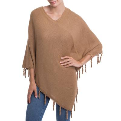 Camel Brown Alpaca Blend Knit Poncho Hand Crocheted Trim