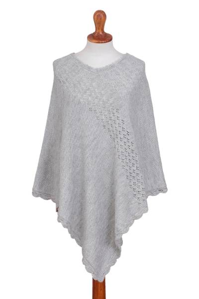 Alpaca Blend Poncho in Smoke Grey from Peru
