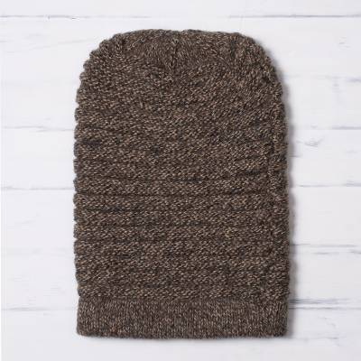 Alpaca blend knit hat, 'Layers in Brown' - Unisex Brown Alpaca Blend Welt Pattern Hand Knit Hat