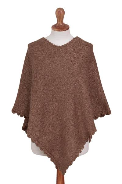 Brown Alpaca Blend Knit Poncho with Hand Crocheted Trim