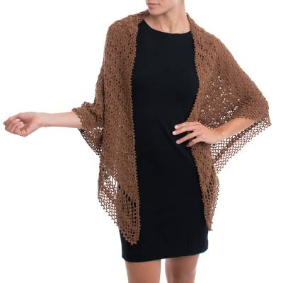 Alpaca blend shawl, 'Burnt Sienna Lace' - Brown Alpaca Blend Fan Motif and Picot Hand Crocheted Shawl