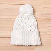 Alpaca blend hat, 'Snow White Braid' - Knit Alpaca Blend Hat in White from Peru