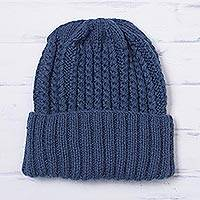 Alpaca blend knit cap, 'River Currents' - Unisex Azure Blue Alpaca Blend Ribbed Cable Hand Knit Cap