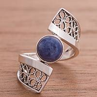 Sodalite filigree cocktail ring, 'Cosmic Twist in Blue' - Sodalite and Sterling Silver Filigree Band Cocktail Ring
