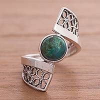 Chrysocolla filigree cocktail ring, 'Cosmic Twist in Green' - Chrysocolla and Sterling Silver Filigree Band Cocktail Ring