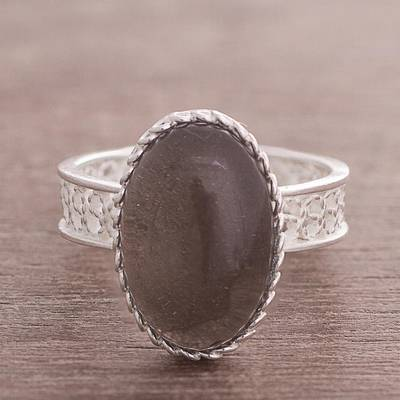 Smoky quartz filigree cocktail ring, 'Soulful Depths' - Oval Smoky Quartz and Sterling Silver Filigree Cocktail Ring