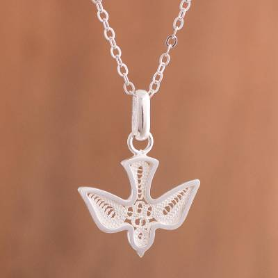 Sterling silver filigree pendant necklace, 'Bright Divine Dove' - Handcrafted Sterling Silver Filigree Dove Pendant Necklace