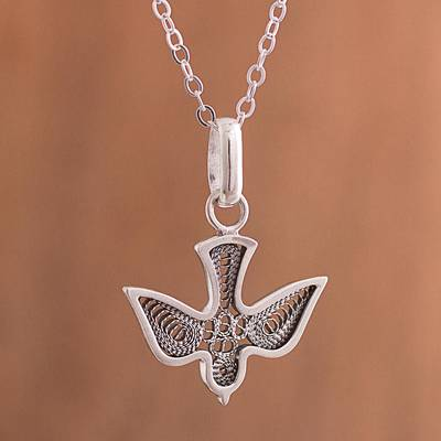 Sterling silver filigree pendant necklace, 'Dark Divine Dove' - Sterling Silver Filigree Dove Oxidized Pendant Necklace