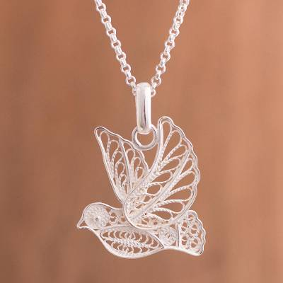 Sterling silver filigree pendant necklace, Peace and Grace
