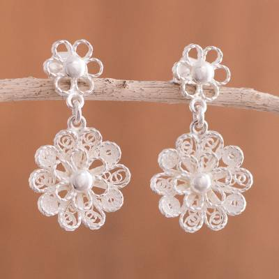 Sterling silver filigree dangle earrings, Exquisite Blossom