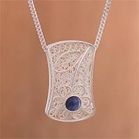 Reversible onyx and sodalite filigree pendant necklace,